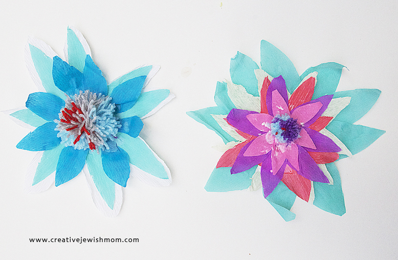 Crepe Paper Flowers With Pom Poms for Kids