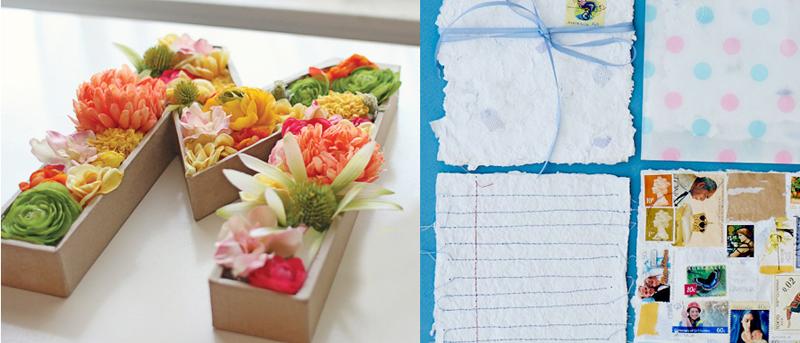 Handmade paper tutorial,blooming monogram DIY