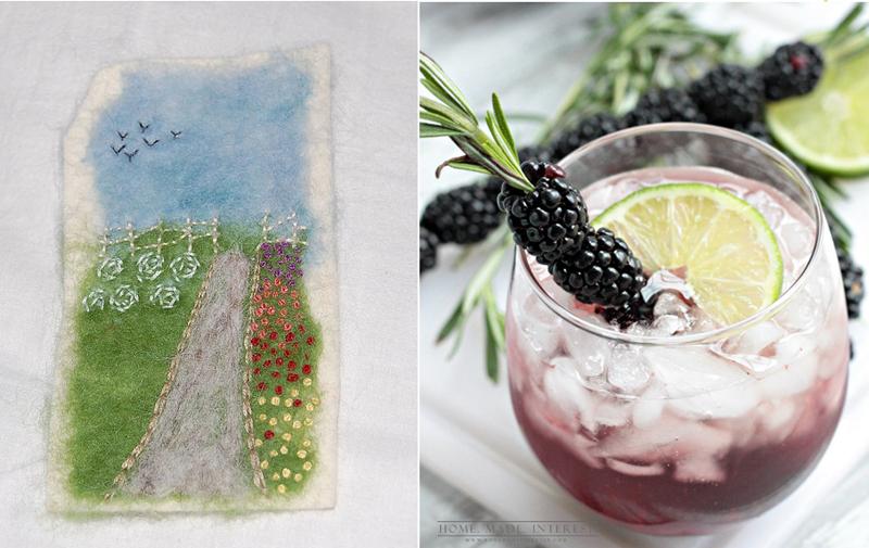 Mini garden embroidery,blackberry fizz drink