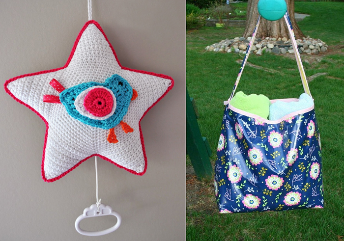 Crocheted baby star shaped music box,waterproof oilcloth bag sewing tutorial