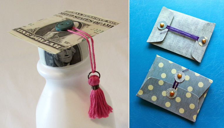 Dollar bill graduation cap for bottle,folded envelope craft