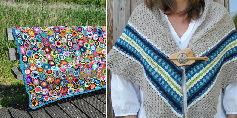Crochete floral circles blanket,crocheted nordic shawl