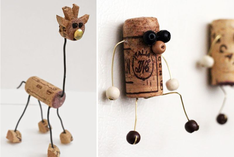 Wine cork giraffe, wine cork characters magnets