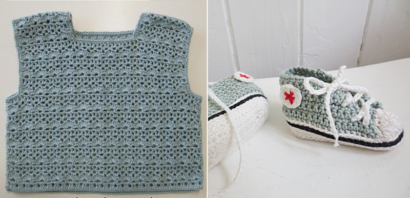 Converse crocheted booties,baby crocheted vest
