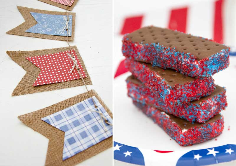 Burlap bunting for 4th,ice cream with red white and blue