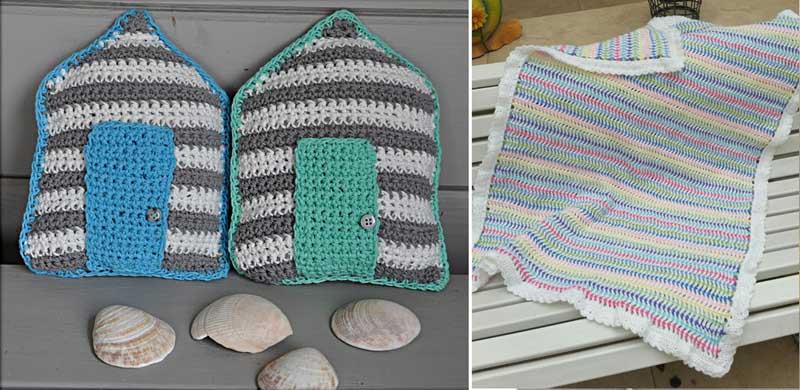 Little crocheted beach shacks,striped crocheted baby blanket