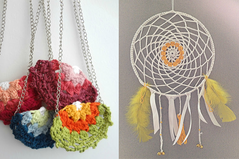 Crocheted dream catcher,granny circle necklaces