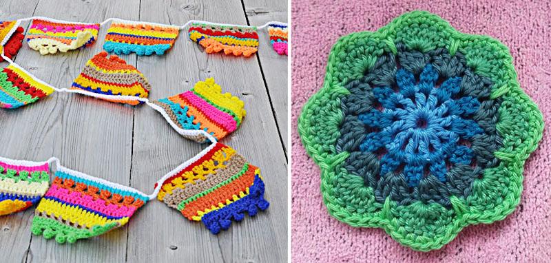 Crocheted banner with pom pom edging,crocheted flower shaped mandala
