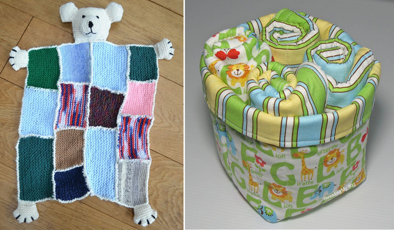 Patchwork knit baby blanket,sewn baby basket