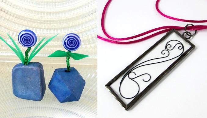 Mini bead flowers,wire line art pendant