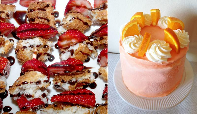Orange creamsicle cake,strawberry dessert skewers