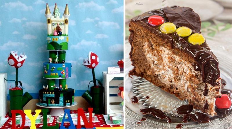 Mario Bros Birthday Cake, creme filled cake