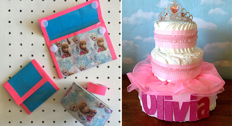 Diaper cake for shower,duct tape wallets