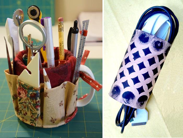 Coffee mug sewing caddy, tp roll chord organizer