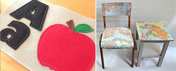 Freezer paper applique,table and chair decoupage with maps