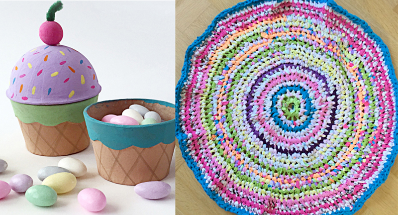Crocheted rag rug paper mache cupcake holder treat box