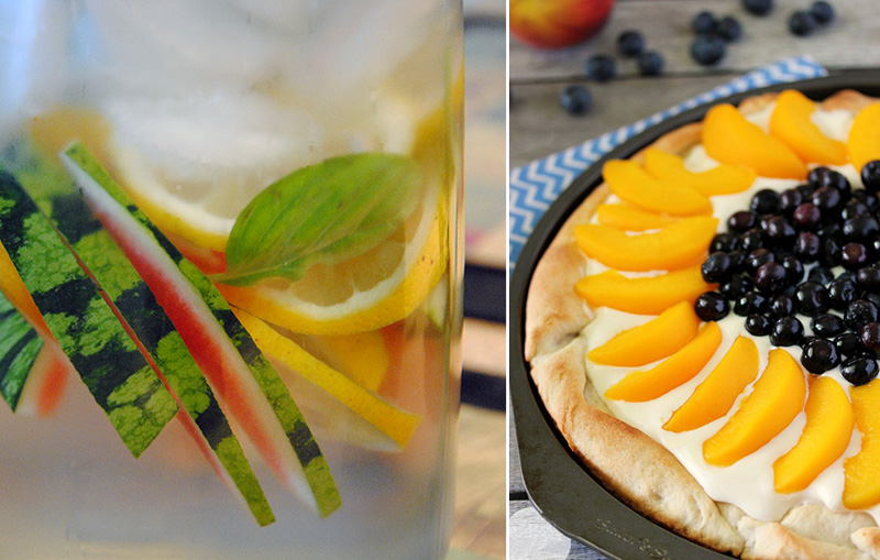 Peach blueberry pizza,watermelon water