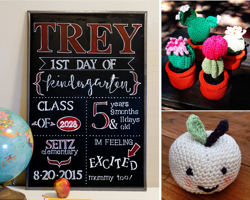 DIY first day of school chalkboard art,crocheted cactus,crocheted apple with face
