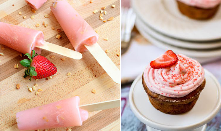 Lo carb strawberry popsicles,strawberry cupcakes