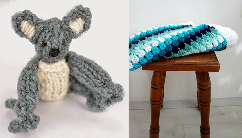 Knit koala and lark's foot baby blanket