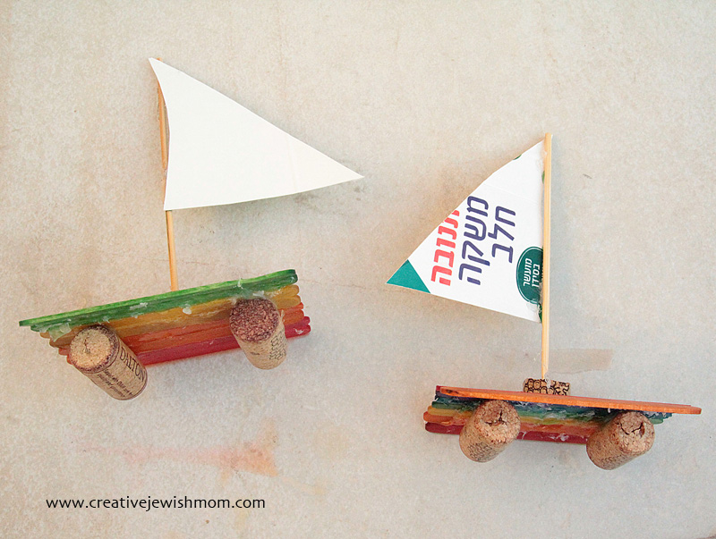 Popsicle Stick with wine cork sailboat craft