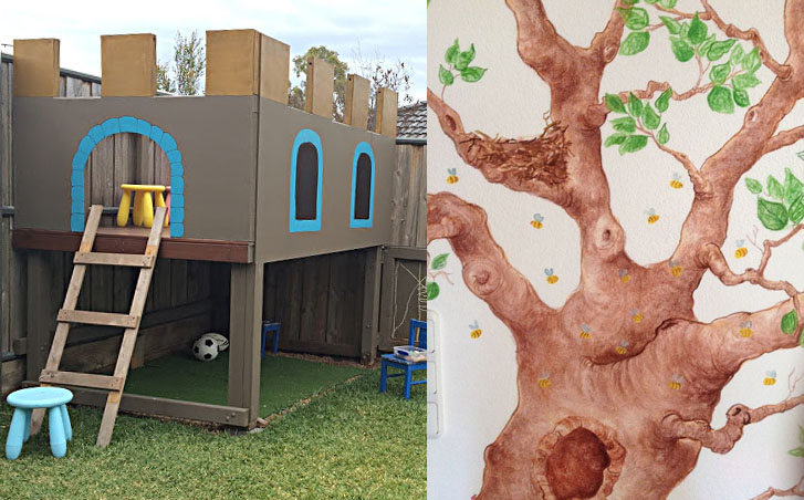 DIY castle play house backyard,tree wall mural