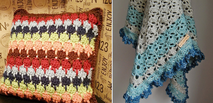 Crocheted lark's foot pillow,scarf shawl with star cut outs
