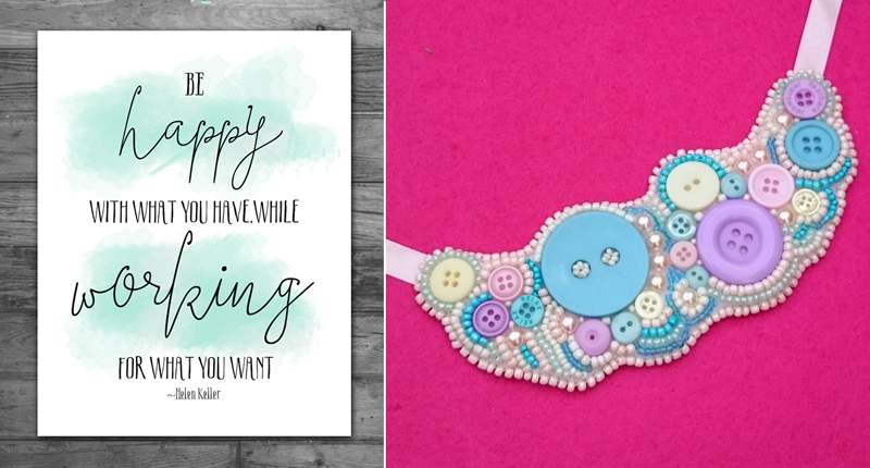 Beaded button necklace, be happy printable