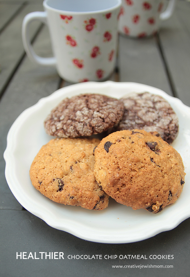 Healthier Chocolate Chip Whole Wheat Oatmeal cookies