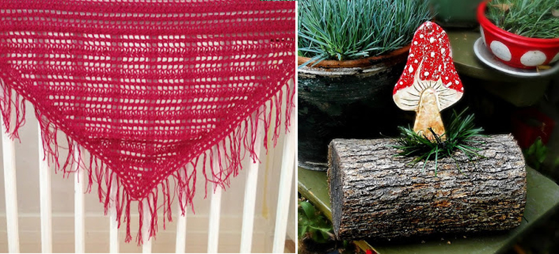 Crocheted ibiza shawl,ceramic mushroom