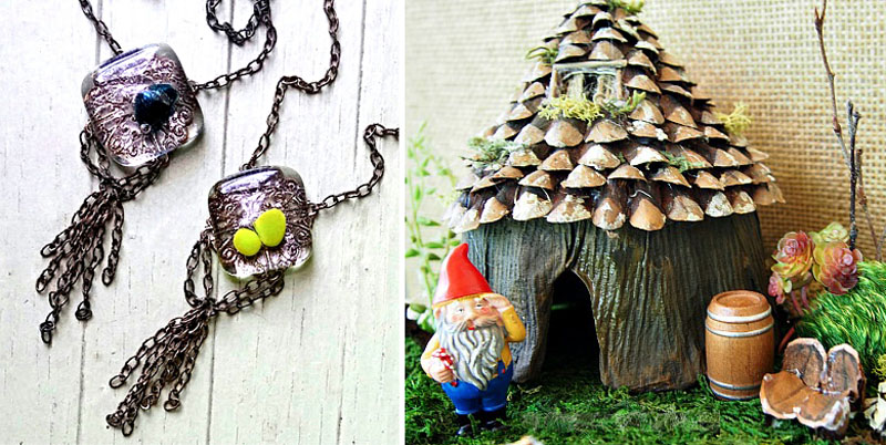 DIY knome house,fused glass pendants