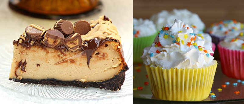 Peanut butter cup cheese cake,icecream cupcakes
