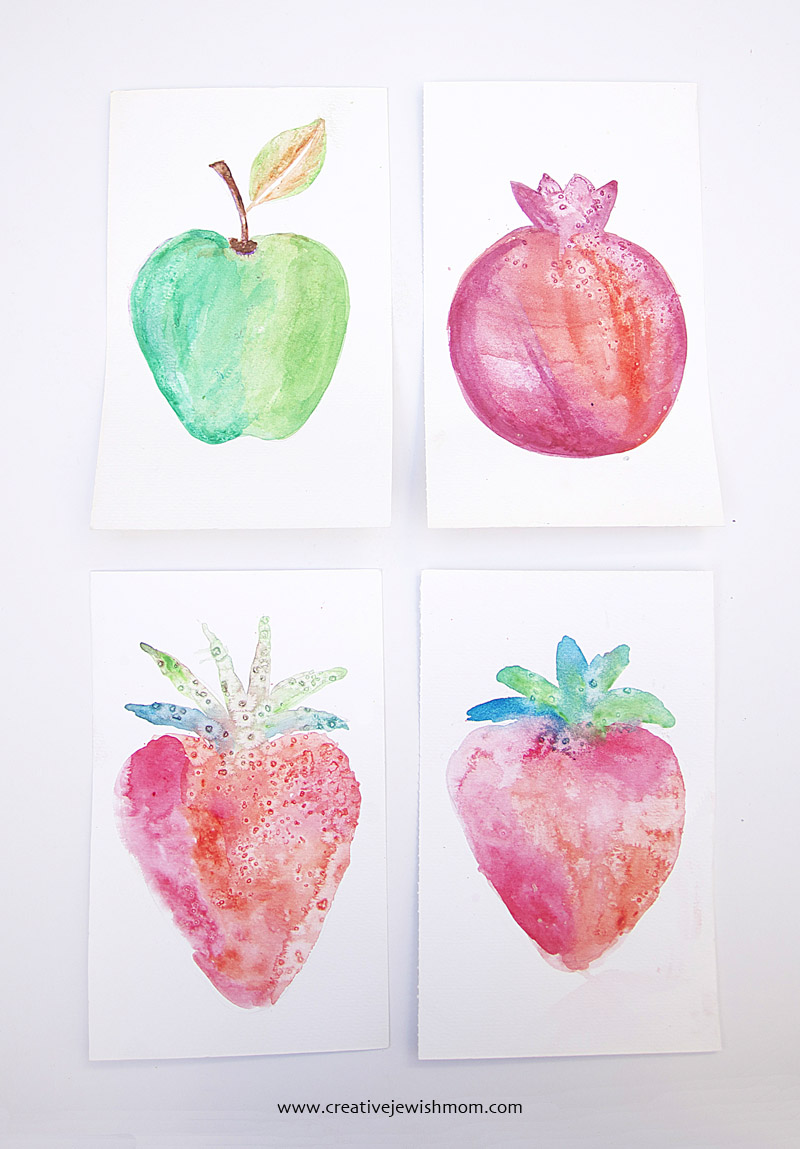 Watercolor Fruit craft for kids
