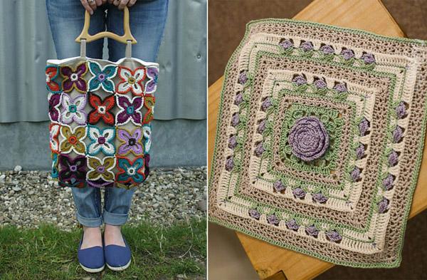 Crocheted four point flowers bag,rose center crocheted square