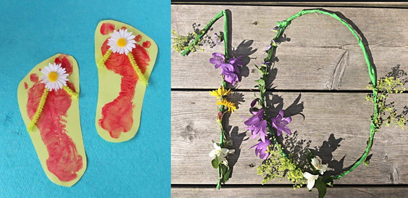 Footprint flip flops craft for kids, wild flower number