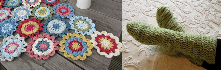 Crocheted socks,crocheted japanese flower scarf