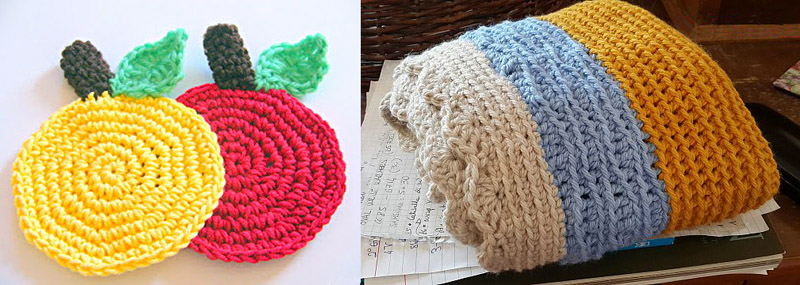 Crocheted apple coaster,crocheted chunky cowl