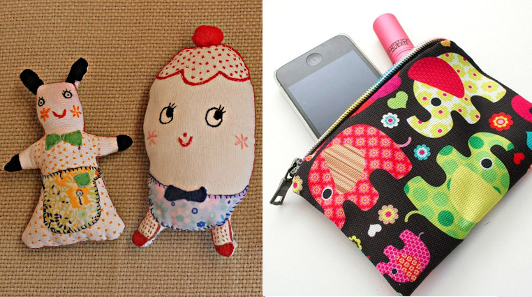 Stuffed embroidered dolls,zipper pouch
