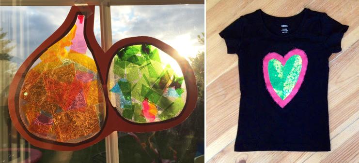 Gourd sun catcher kids craft, t-shirt applique