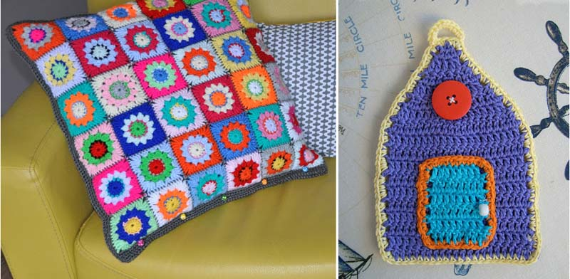 Little crocheted house, round granny pillow