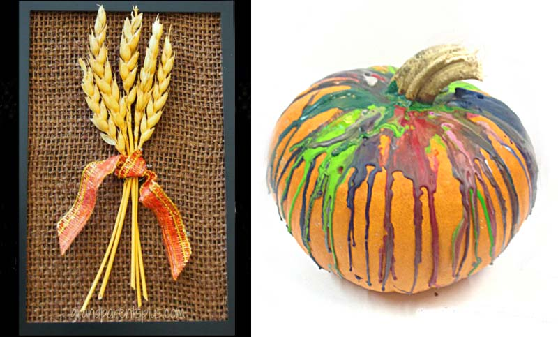 Crayon melted on pumpkin,wheat pictures