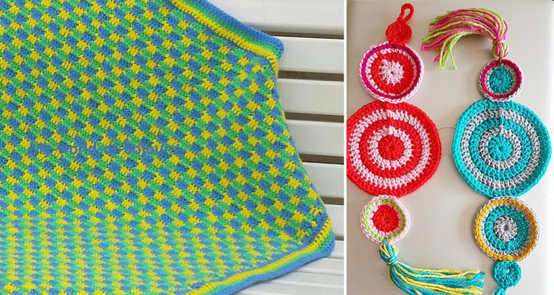 Crocheted baby blanket,crocheted knob tassel