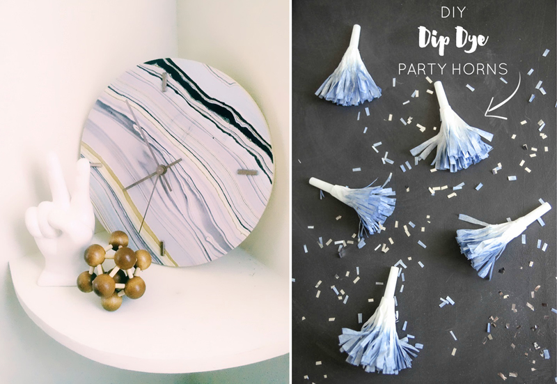 Paper Party Horns DIY dipped dyed,faux marble clock DIY