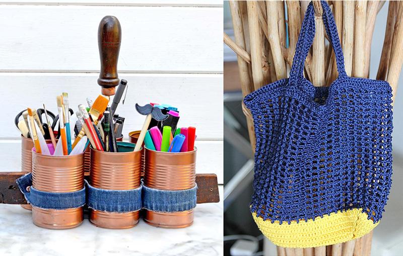 Tin can craft caddy,crocheted net market bag