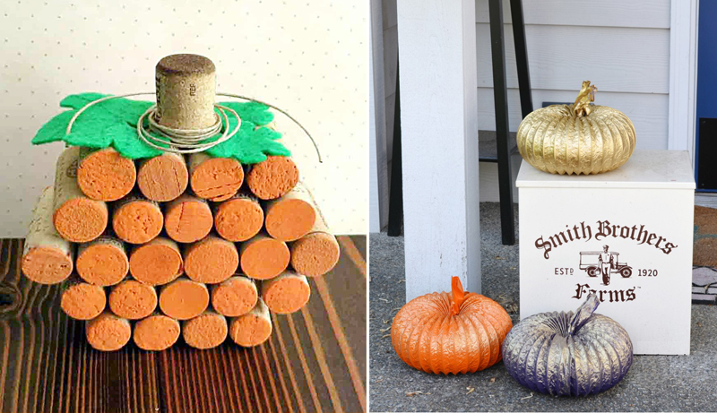 Dryer duct pumpkins,wine cork pumpkin