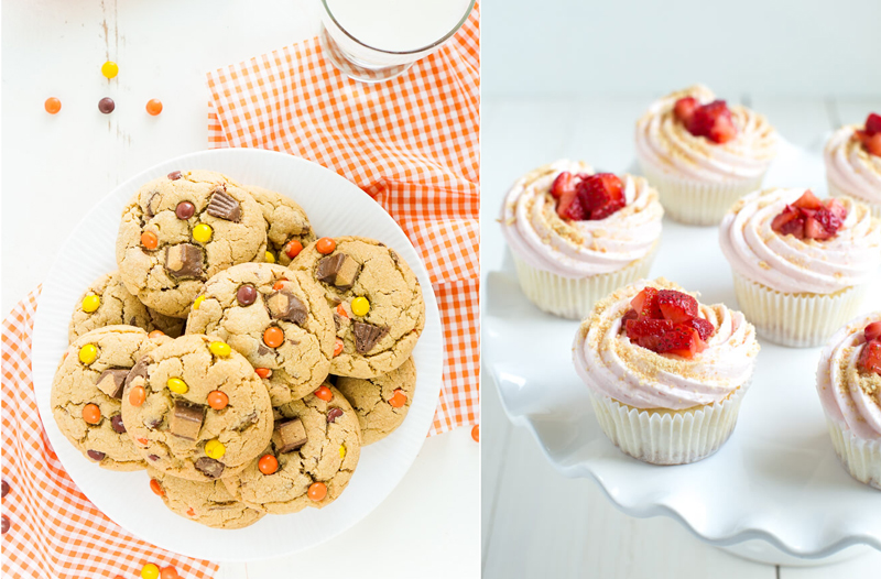 Reeses and chips cookies,strawberry cheesecake muffins