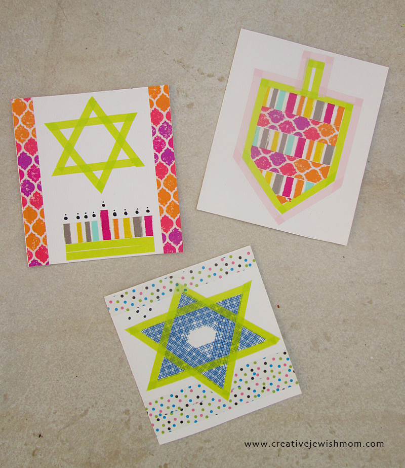 Hanukkah kids crafts washi tape cards