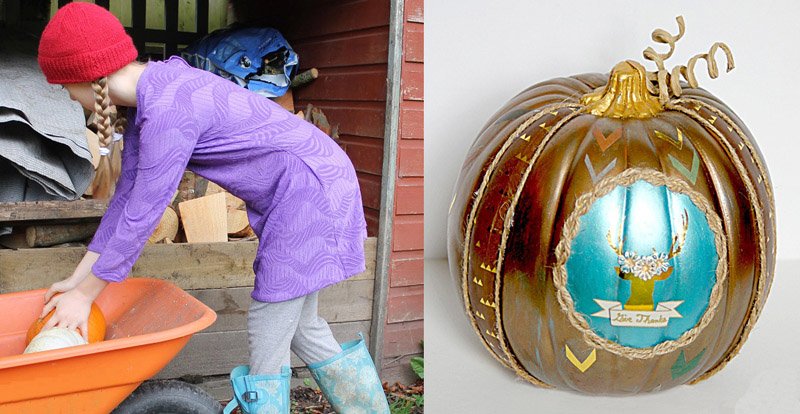 Golden pumpkin with turquoise,purple tunic