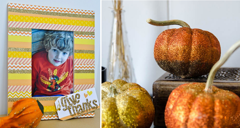 Ombre glitter pumpkins,washi tape fall frame