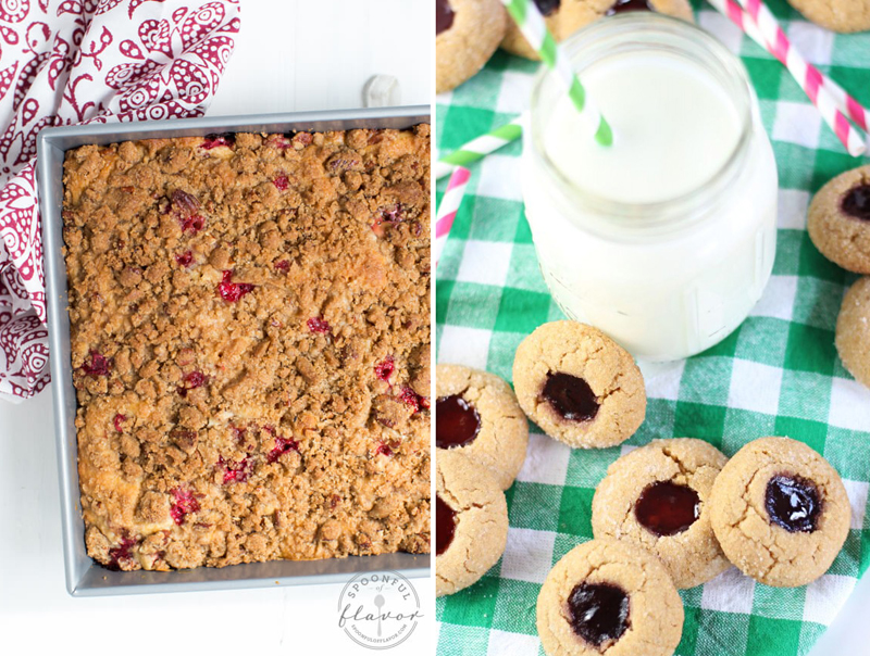 Cranberry Crumb Bars,peanut butter and jelly thumb print cookies